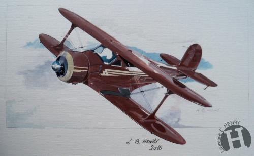 beechcraft,staggerwing,aviation art