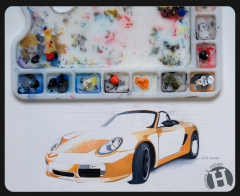illustration,automobile,illustrateur,porsche,boxster