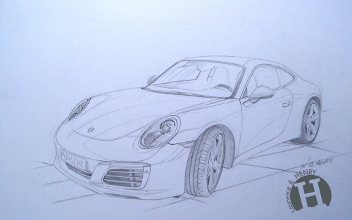 illustration dessin,porsche