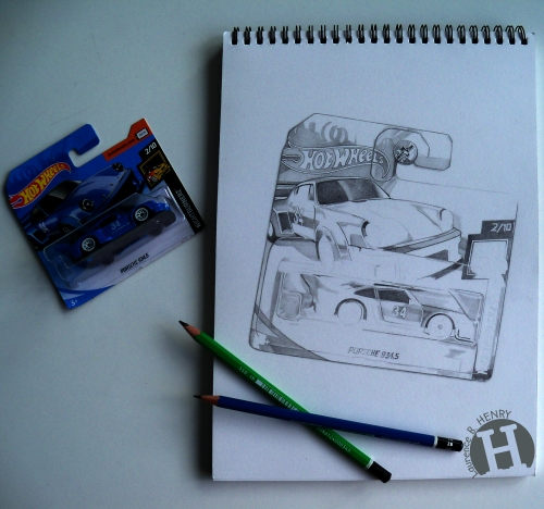 hyperréalisme,dessin,hot wheels, porsche