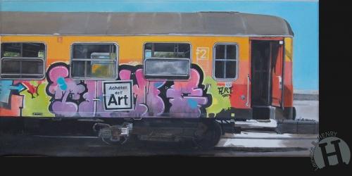 art,hyperréalisme,art urbain,train,tag,achetez de l'art