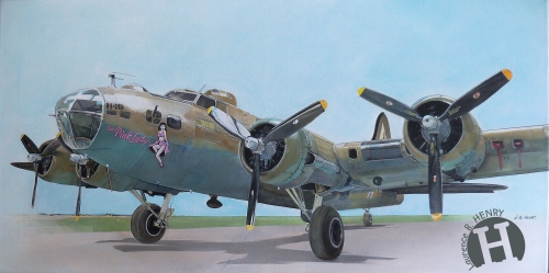 artiste peintre aéronautique,b 17,art aviation