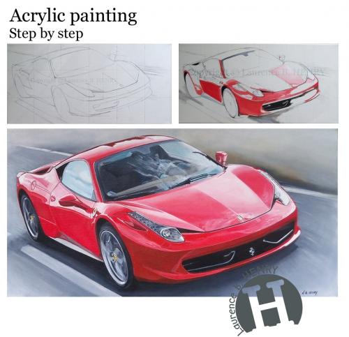 artiste peintre,automobile,ferrari,automotiv artist,gt passion,italia 458,auto prestige